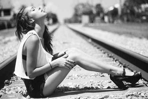 art & photography / #model #train #tracks #heels #tank #high #waisted #shorts #cigarette