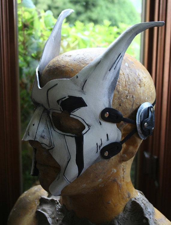 Battle Damaged White Warrior Mask leather by NonDecaffeinatedArt