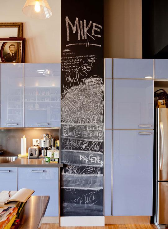 Light Blue Cabinets, Stainless & Chalkboard in the Kitchen Roommarks | Apartment Therapy