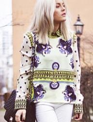 Floral Retro Zipper Shirt