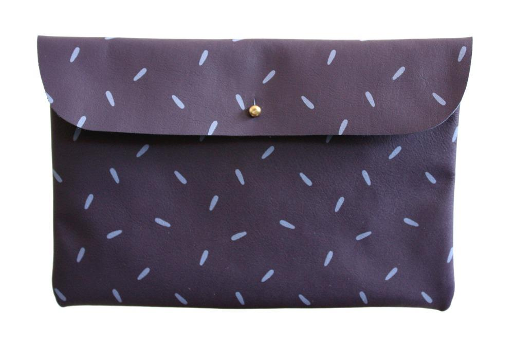 FALCONWRIGHT — Clutch- Purple Leather with Lavender Seeds