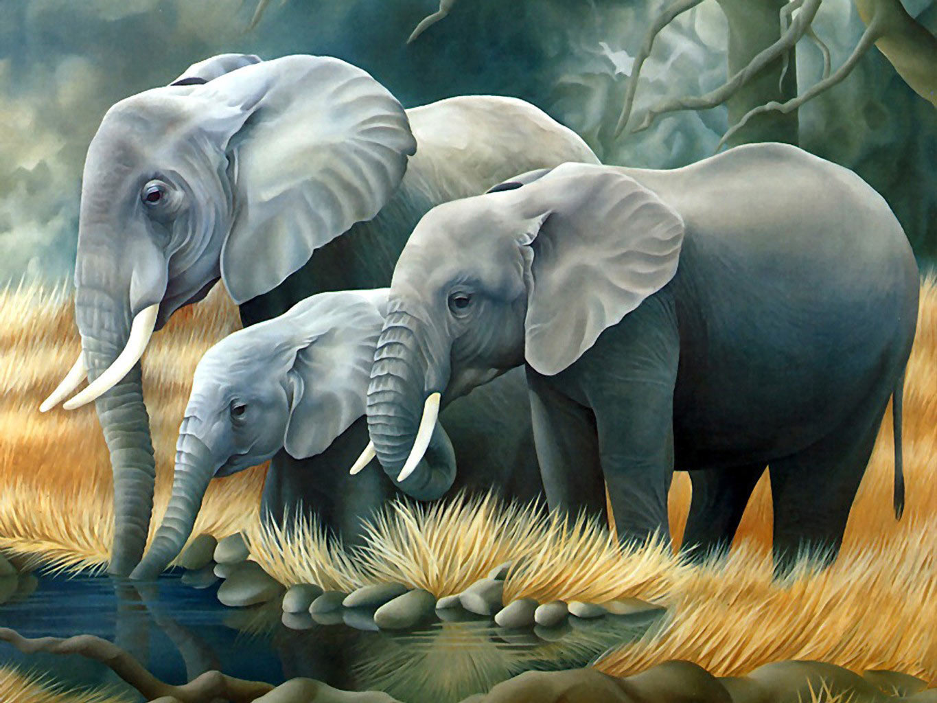 Desktop Wallpaper · Gallery · 3D-Art · 3d animals - Elephants | Free Background 1365x1024