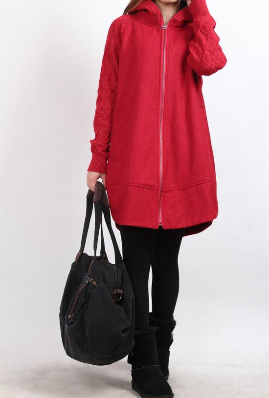 Red Knitted sleeve hoodie wool overcoat by MaLieb on Etsy