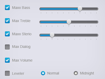 Sliders & Radio buttons for Dell Sound Setting by Badhon Ebrahim