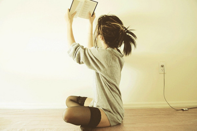 alone, black, black and grey, book, brunette - inspiring picture on Favim.com