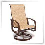 Rioja Collection Sling Swivel Dining Chair - Set of 2 - Patio Chairs at Patio Furniture USA