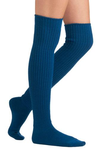 Chic-Kneed Socks in Cerulean | Mod Retro Vintage Socks | ModCloth.com