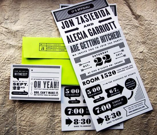 Modern Graphic and Neon Letterpress Wedding Invitations | Oh So Beautiful Paper