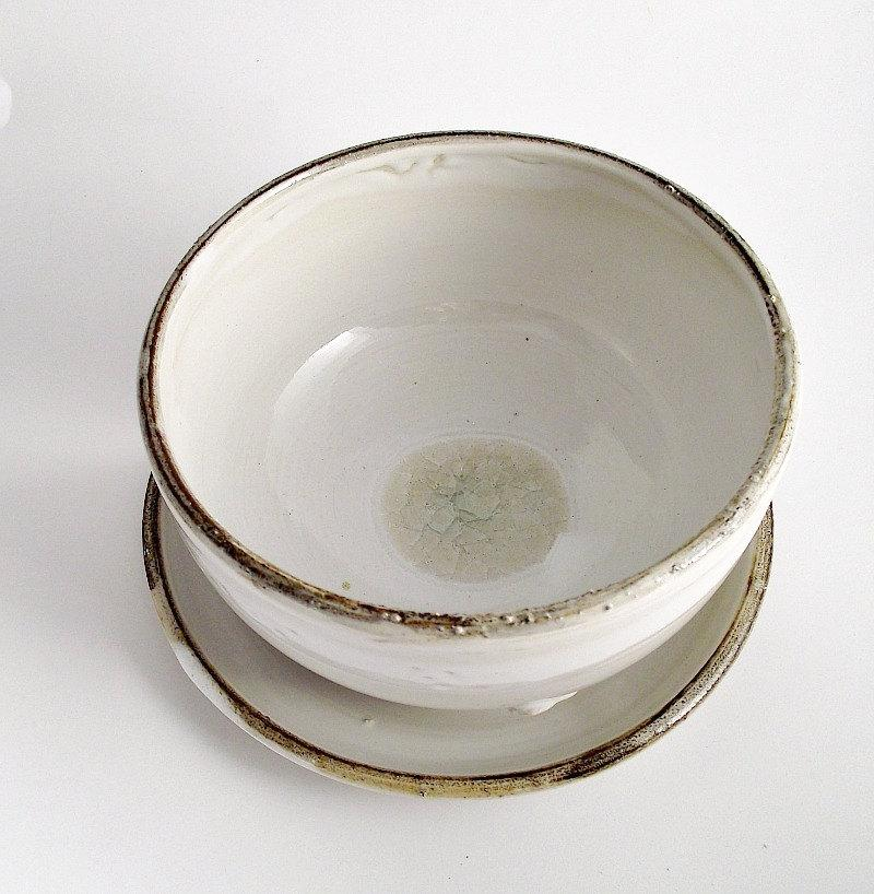 White Rustic Bowl and Plate Stoneware grès Bowl by lofficina