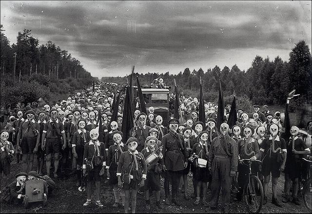 All sizes | group in gas mask | Flickr - Photo Sharing!