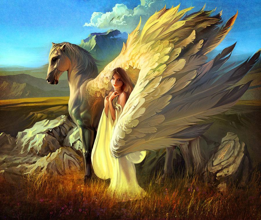 Girl and Pegasus by *RHADS