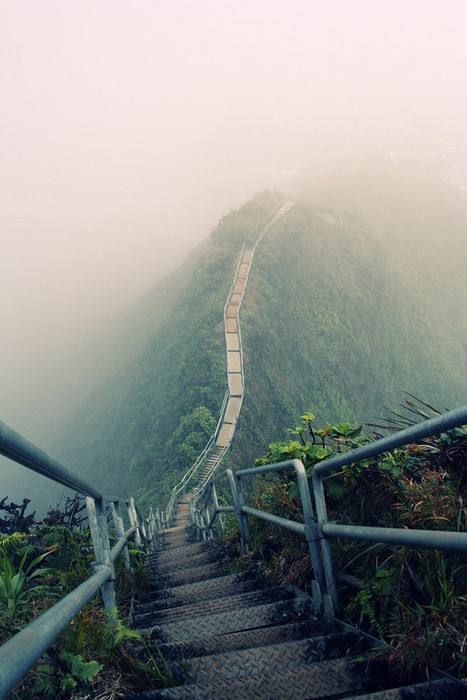 Places I Want to Go / Haiku Stairs (Stairway to Heaven) - a steel staircase of 4000 steps that ascends a ridge up from the Valley of Haiku near Kaneohe on the island Oahu, HI