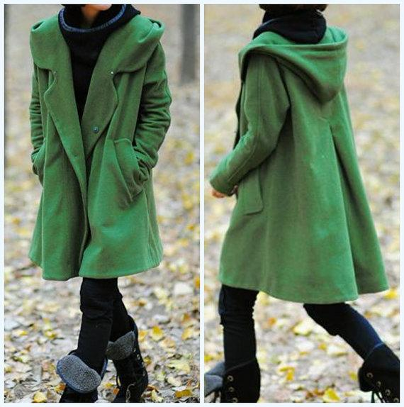 grass green Hoodie Wool cape winter coat by MaLieb on Etsy