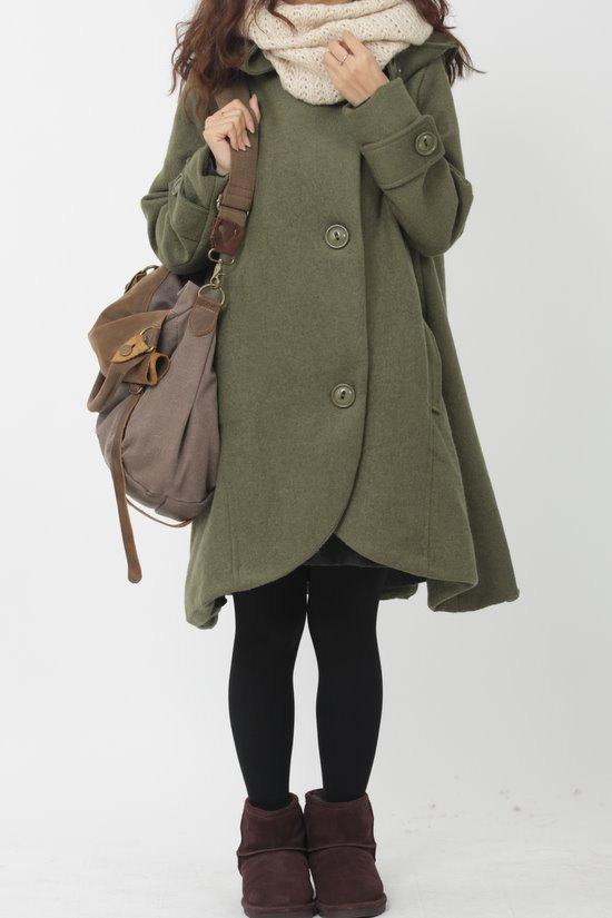 green cloak wool coat Hooded Cape women Winter wool coat by MaLieb