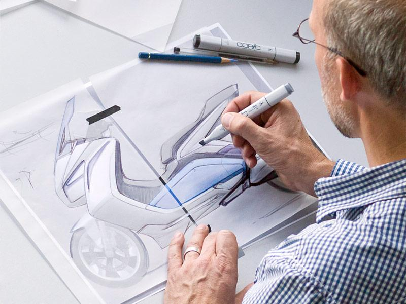 BMW Concept e Design Sketching - Car Body Design