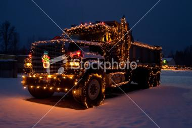 Dumptruck outfitted christmas lights | Stock Photo | iStock