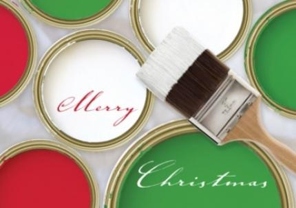 Colors Of Christmas Construction Card - Painter Christmas Cards