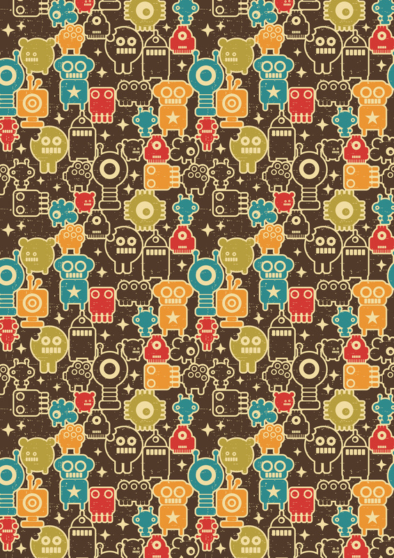Robots on brown. Art Print by Panova | Society6