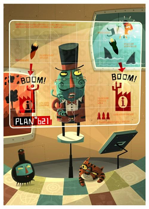 Evil Genius - Game Illustrations by Steve Simpson - What an ART