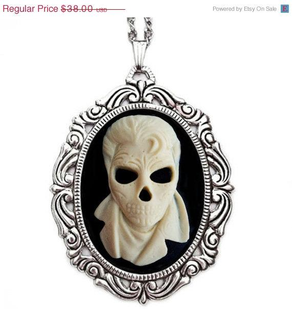 Day of the Dead Rocker Necklace Skeleton Cameo by couturebylolita