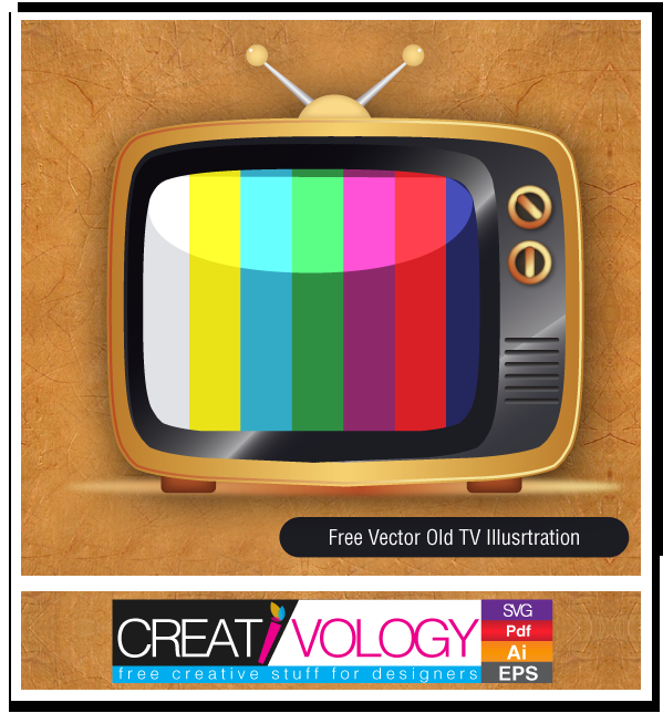 Free Vector Old Tv Illustration | creativology.pk