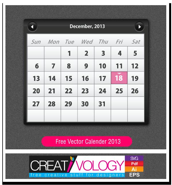 Free Vector Calender 2013 | creativology.pk