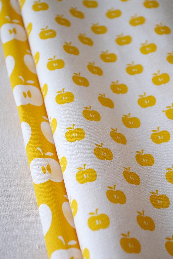 APPLES hand printed fabric quarter by BlueberryAsh on Etsy