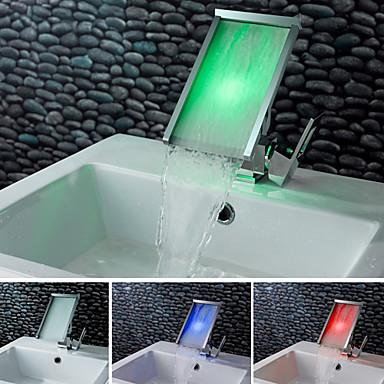 Contemporary Color Changing LED Waterfall Bathroom Sink Faucet – FaucetSuperDeal.com