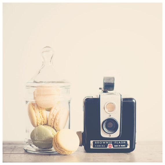 vintage kodak camera macaron photo print by oohprettyshiny