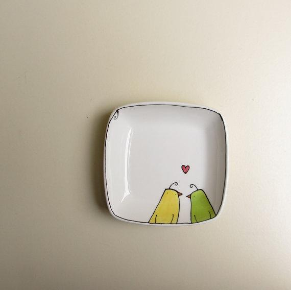 Ceramic yellow and green love birds square dish by catherinereece
