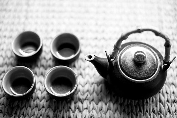 Tea Pot and Four Cups Black and White 8x12 by ShermanPhotography