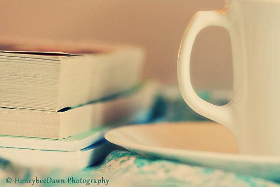 Books and Tea Print Still Life Fine Art by HoneybeeDawn on Etsy
