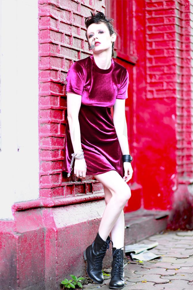 Romeo Dark Magenta Sexy Velvet Dress | LetThemStare