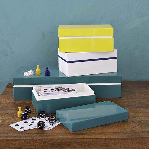 Colored Stripe Lacquer Boxes | west elm
