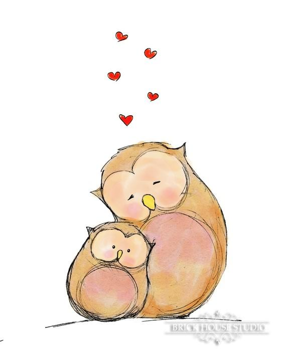 Childrens Illustration Owl Love 5x7 Print by BrickHouseStudio