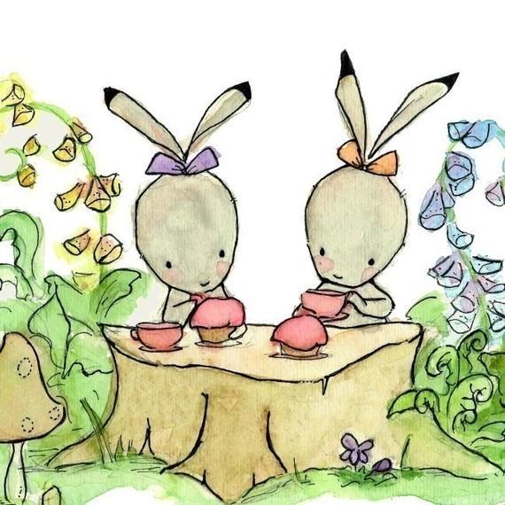 The Bunny Tea Party 8X10 Nursery Print by trafalgarssquare