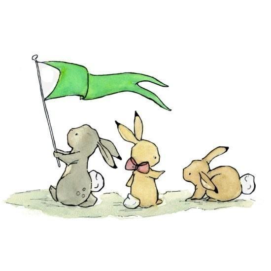 Bunny Parade 8x10 Children's Art Print by trafalgarssquare on Etsy