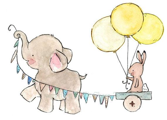 baby elephant and bunny decor JOYRIDE by trafalgarssquare on Etsy