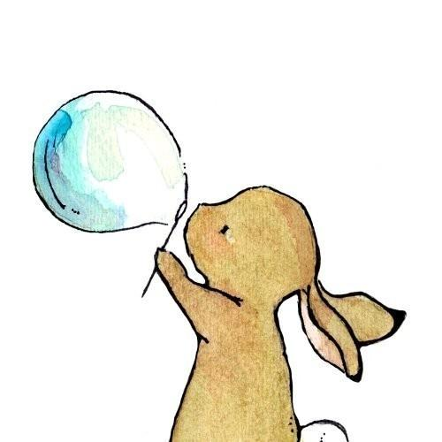 Nursery Art Bunny Bubbles 8x10 Art Print by trafalgarssquare