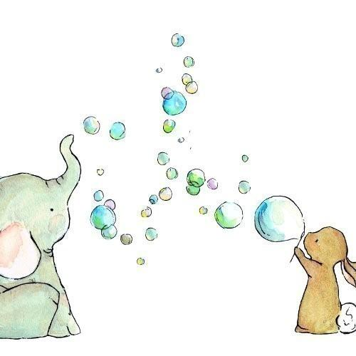 Nursery Art Bubble Party 5x7 Art Print by trafalgarssquare