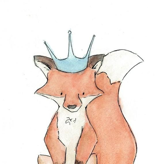 Royal Fox Children's Art Print 11x17 Nursery by trafalgarssquare