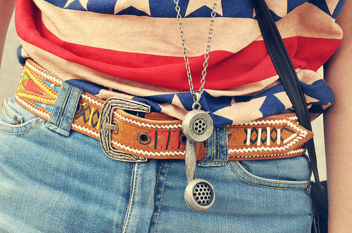 belt, denim, fashion, flag, girl - inspiring picture on Favim.com