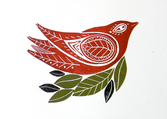 Red Winter Bird Original Linocut Print by mangleprints on Etsy