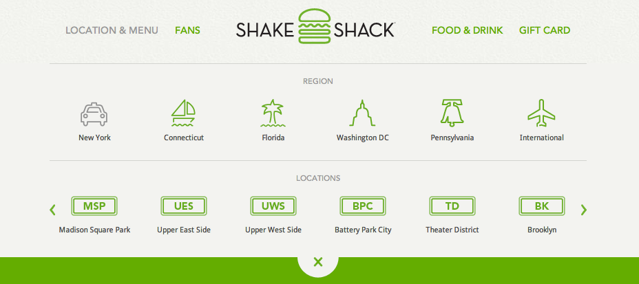 Header and Navigation from Shake Shack › PatternTap