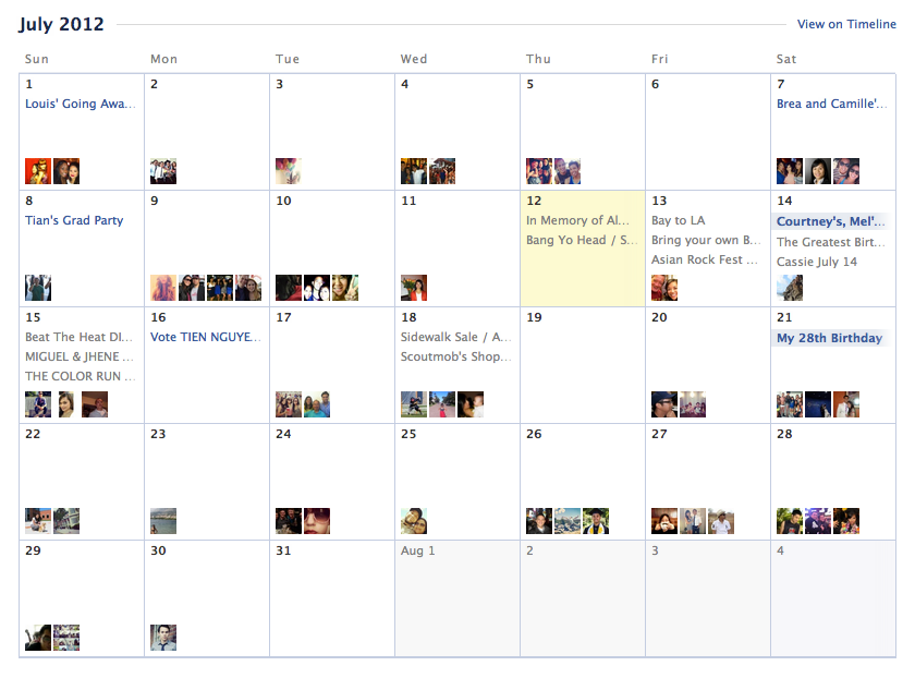 Events & Birthday Calendar from Facebook › PatternTap
