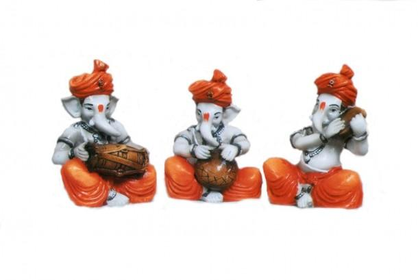 Set of 3 Musical Ganesha - Craftsia - Indian Handmade Products & Gifts