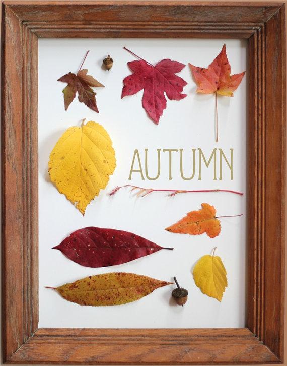 Autumn Leaves Modern Thanksgiving Decor Art by FlourishCafe
