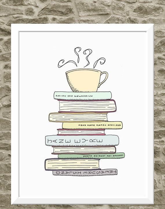 I Love Books & Tea Print Kitchen Art Illustration by FlourishCafe