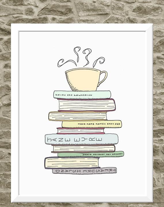 I Love Books & Tea Print Kitchen Art Illustration by FlourishCafe