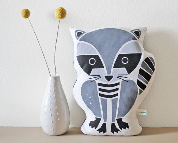 Raccoon Pillow Organic Cotton Hand Screenprinted 3 by sassandperil